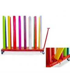 Chariot mobile ergonomique pour  16 rouleaux de 162cm maxi