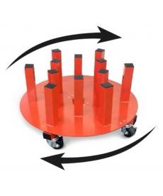 Ratelier mobile rond pour 12 rouleaux (laize 162cm maxi)